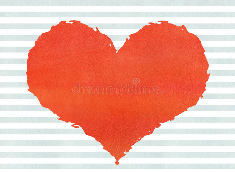 Red watercolor grunge heart on watercolor blue stripes background. royalty free illustration