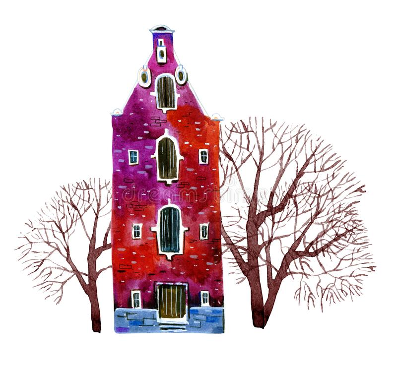 Red watercolor old stone europe house. Amsterdam building with trees. Hand drawn cartoon illustration. Isolated on white background vector illustration