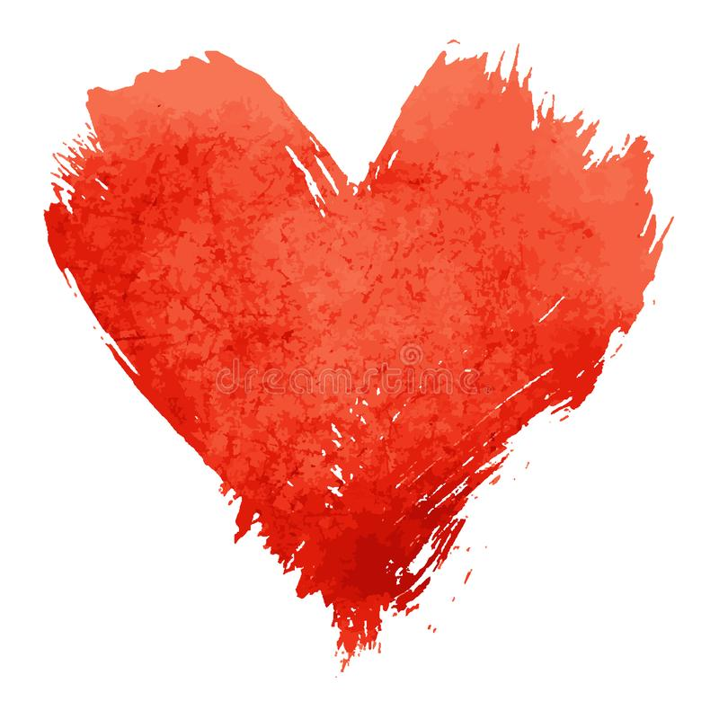 Red watercolor painted heart shape on white royalty free stock images