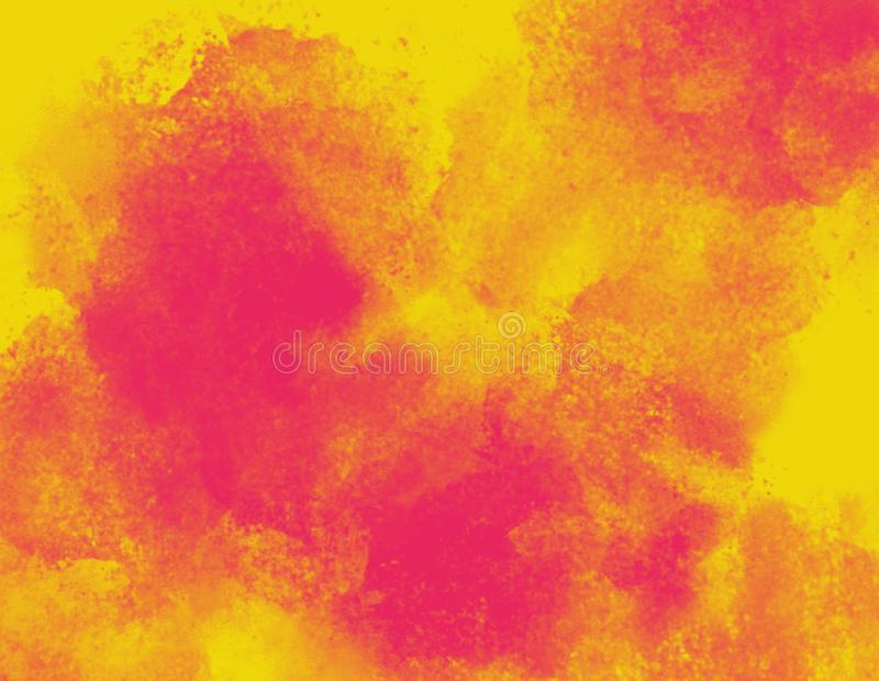 Red watercolor splash clouds on yellow background. Space for copy text. Illustration vector illustration