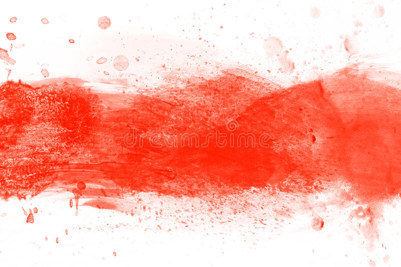 Red watercolor splashes of paint on canvas. Perfect for brush, design, template stock illustration