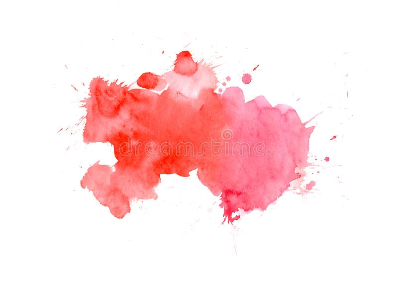 Red watercolor stain with wash. Watercolor texture for Valentine day, wedding, card royalty free stock image