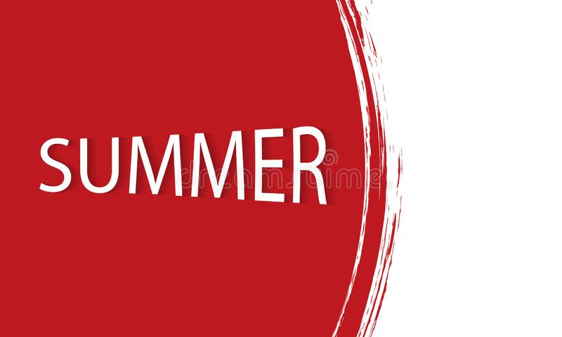 Red watercolor summer banner stock illustration
