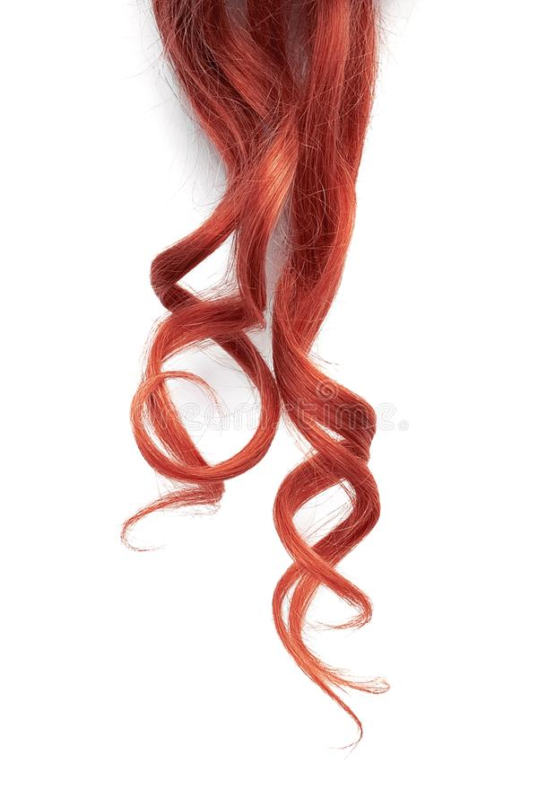 Red wavy hair isolated on white background. Thin curl. Natural healthy hair isolated on white background. Detailed clipart for your collages and illustrations stock photos