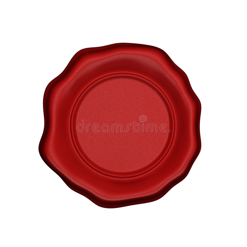 Red wax seal. Wax seal on a white background (3D rendered illustration royalty free illustration