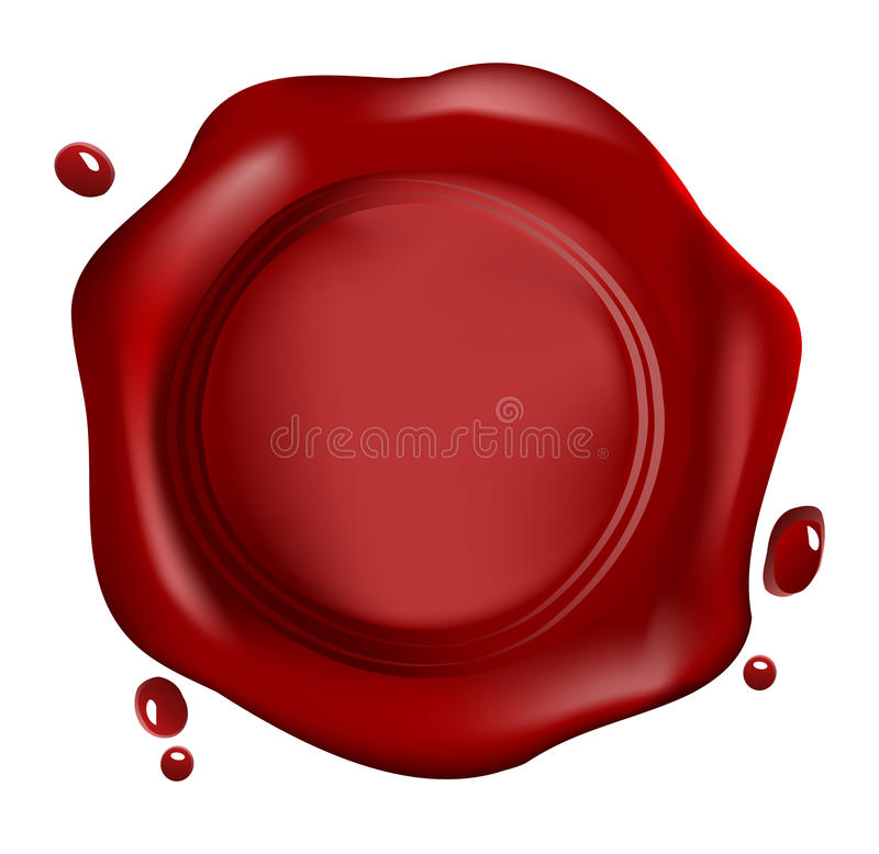 Red wax seal. With drops , vector vector illustration