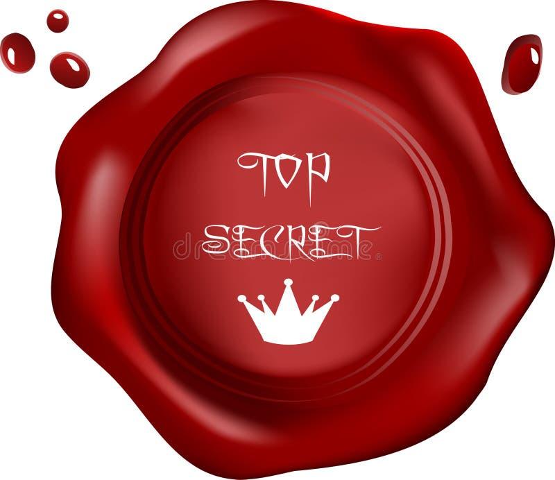 Red wax seal. Vector, royal top secret royalty free illustration