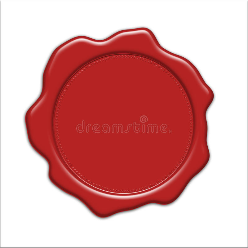 Red wax seal illustration. Blank red wax seal illustration, isolated on white background vector illustration