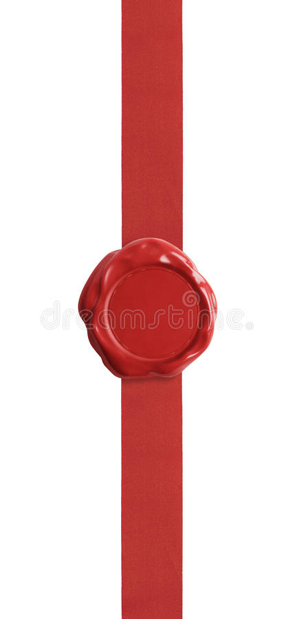 Red wax seal with ribbon certificate isolated on. Wax seal with red ribbon isolated on white for certificate royalty free stock images