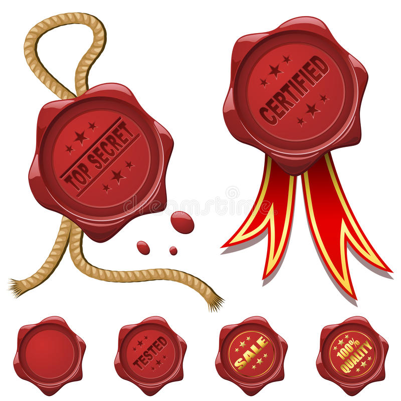 Red wax seals. Collection of red wax seals isolated on white vector illustration