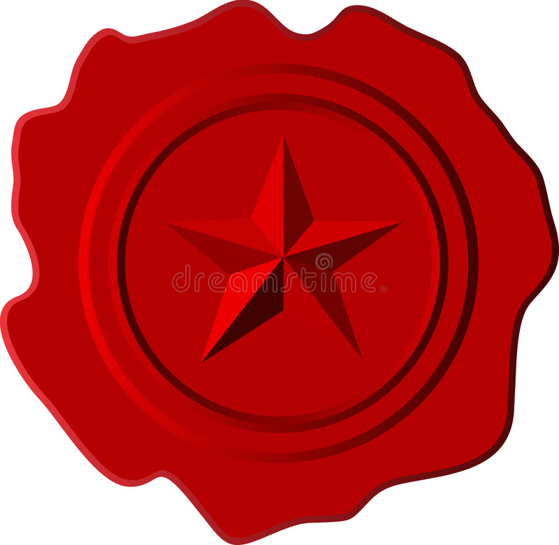Red wax star. Vector illustration of the red wax with star stock illustration