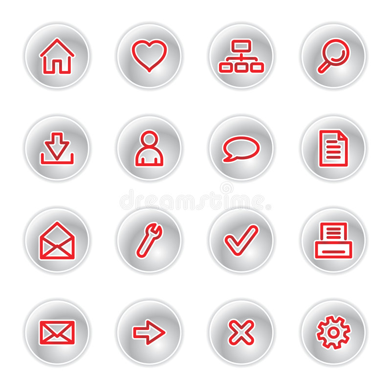 Red web icons. On grey buttons