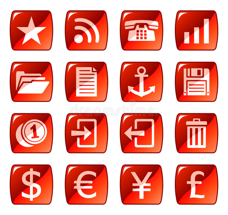 Red web icons / buttons 3 royalty free illustration