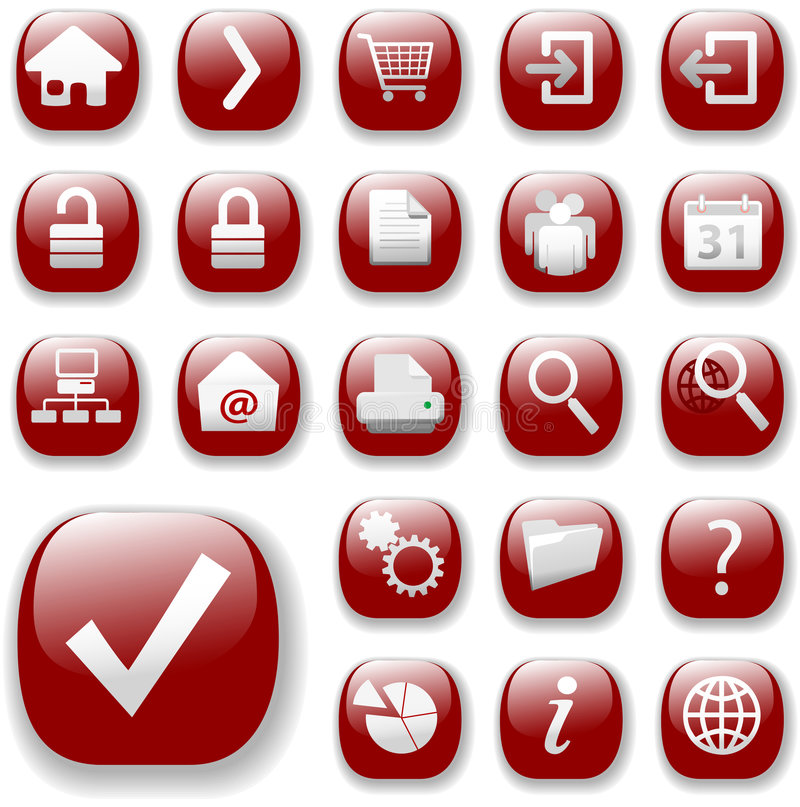 Red web navigation icon set. Ruby Red icon buttons, the Web Navigation Set