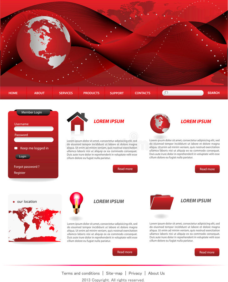 Red website templates stock vector. Illustration of layout - 28914700