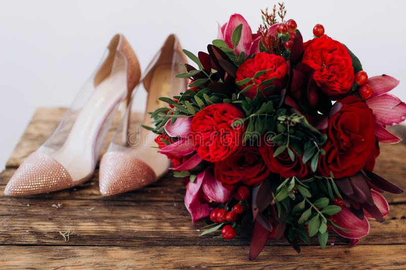 Red wedding bouquet royalty free stock images