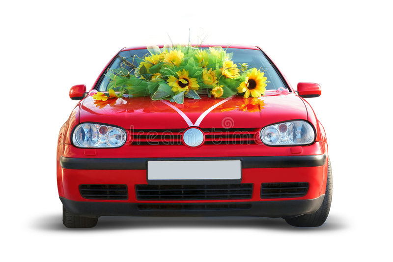 Red Wedding Car stock image