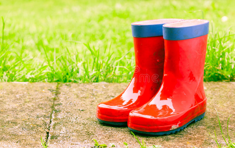 Red wellies stock photo