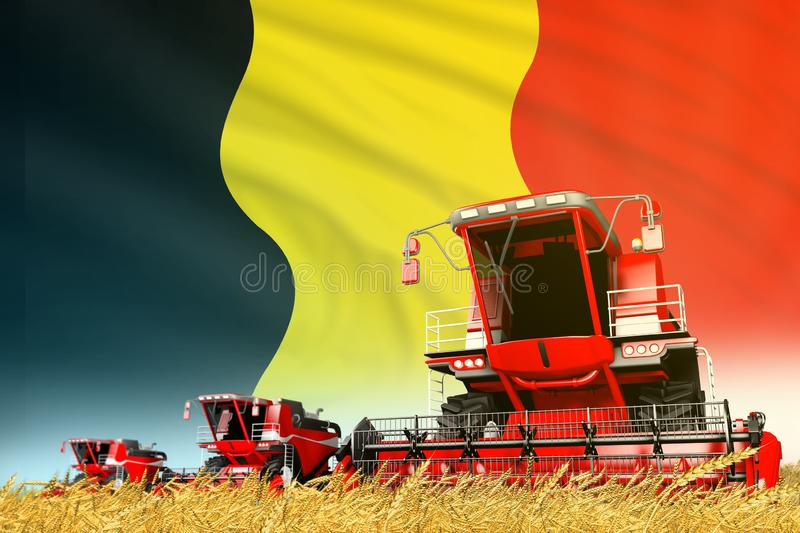 Industrial 3D illustration of red rye agricultural combine harvester on field with Belgium flag background, food industry concept. Red wheat agricultural combine vector illustration