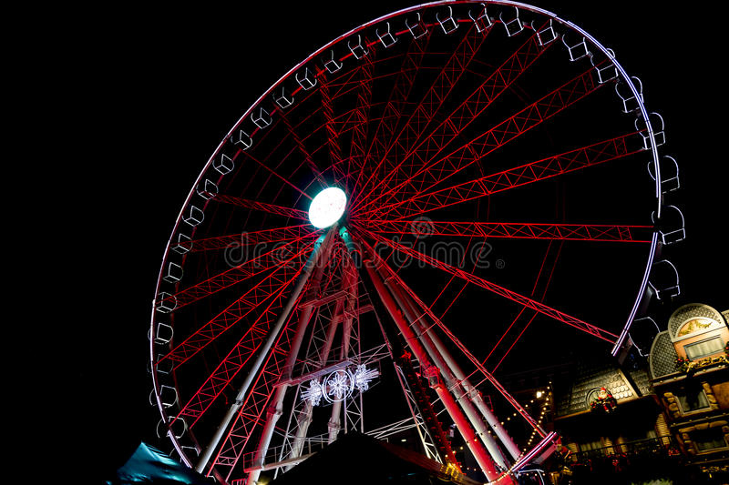 Red wheel. In the night royalty free stock photography
