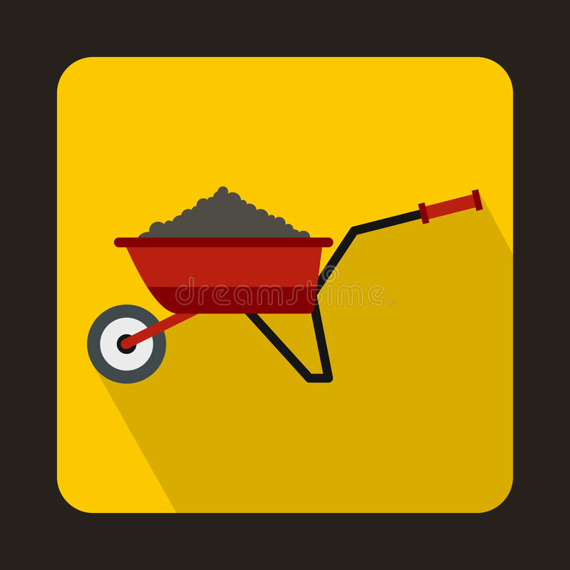 Red wheelbarrow loaded with soil icon stock illustration