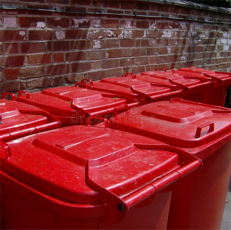 Download Red wheelie bin lids stock photo. Image of environment - 2748944