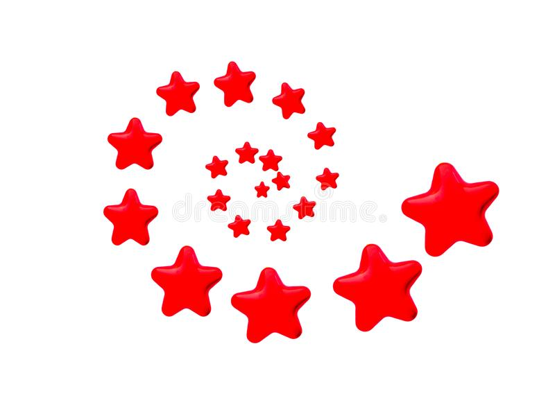 Red Whirling Stars. Red stars in whirling pattern on white background, growing, changing, progressing concepts royalty free illustration
