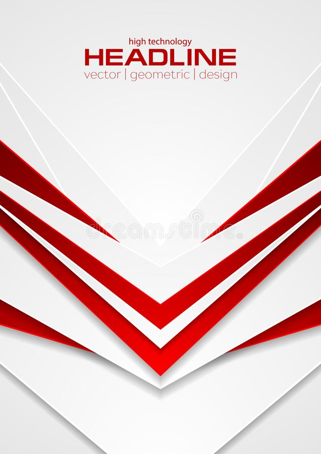 Red and white abstract tech arrows flyer background vector illustration