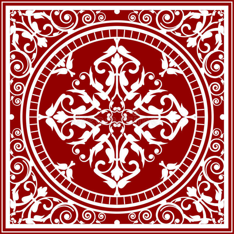 Red And White Asian Rug