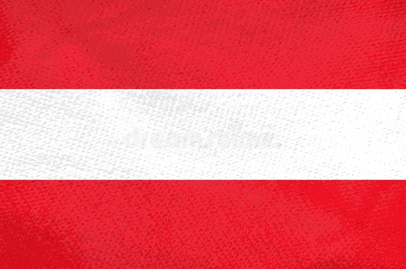 Red and white Austrian flag with stripes. Austrian flag with cool grunge texture. Vector flag of Austria in official red white colors with grunge texture vector illustration