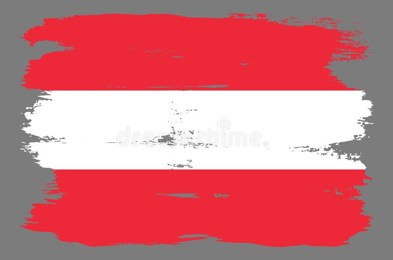 Red and white Austrian flag with stripes. Austrian flag with cool grunge texture. Vector flag of Austria in official red white colors with grunge texture stock illustration