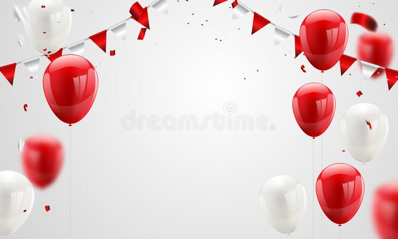 Red White balloons, confetti concept design 17 August Happy Independence Day vector illustration