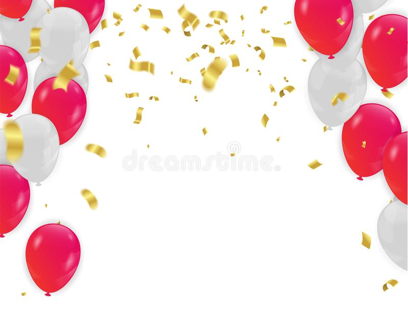 Red White balloons, confetti concept design background. with con vector illustration