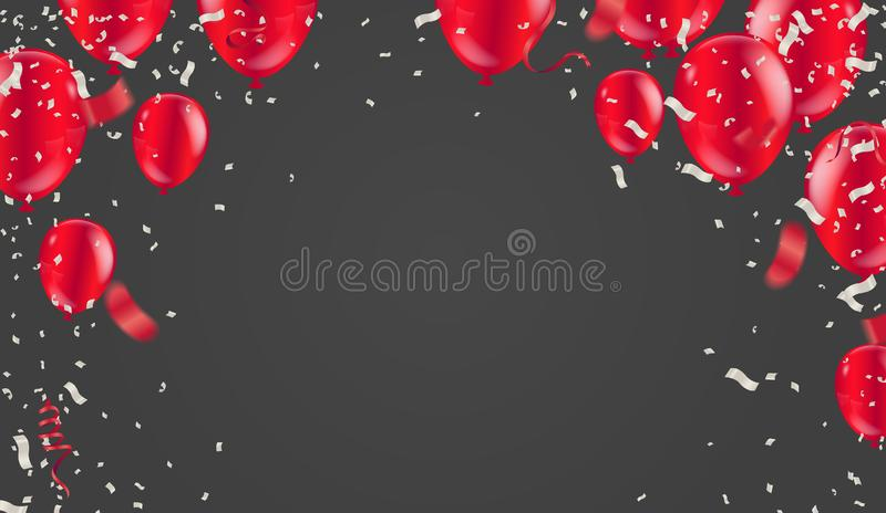 Red White balloons, confetti concept design with isolated on white background. 3D illustration of celebration, party balloons vector illustration