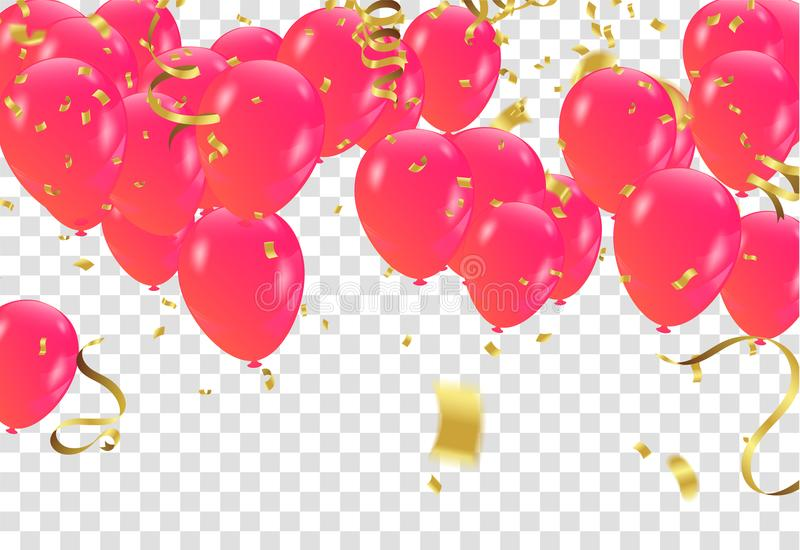 Red White balloons, confetti concept design template on a transparent background. EPS 10 stock illustration