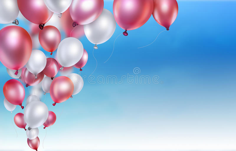 Red and white balloons. On sky background stock illustration