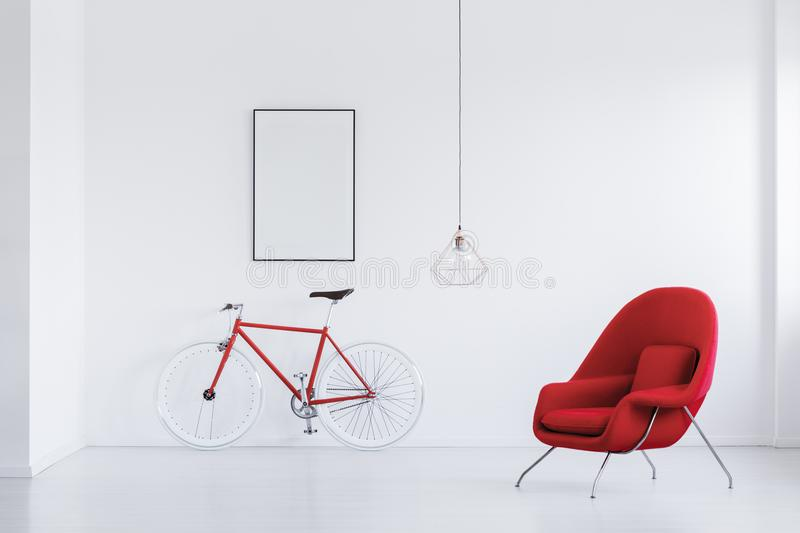 Red and white bicycle royalty free stock photography