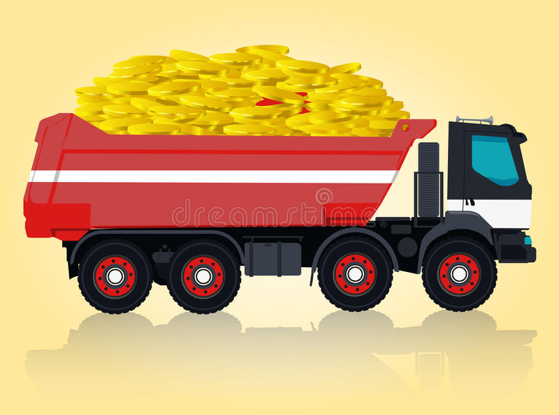 Red and white big truck is taking golden coins. vector illustration