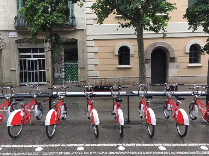 Red and white bikes. Barcelona, Spain stock image