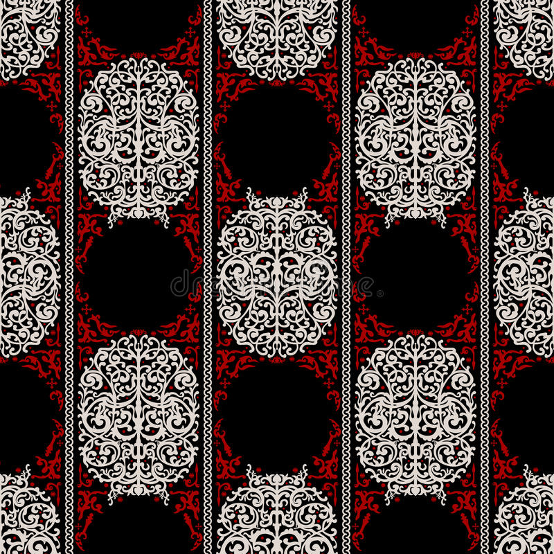 Red, white and black ancient vintage seamless ornamental texture royalty free illustration