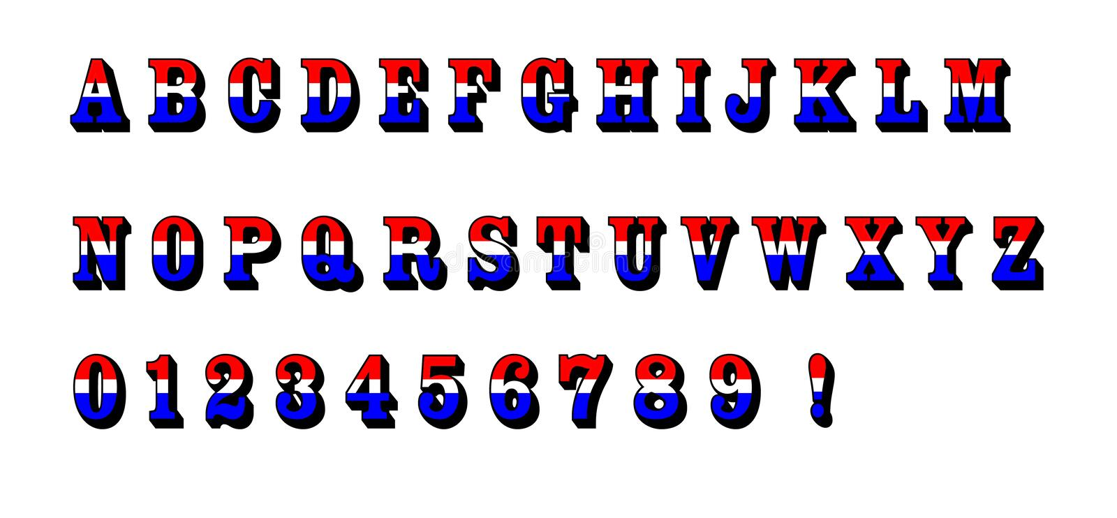 Red White Blue Alphabet Letters Text Patriotic USA. ABC Letters of the alphabet and numbers with a red, white, and blue patriotic theme. Please download the comp royalty free illustration