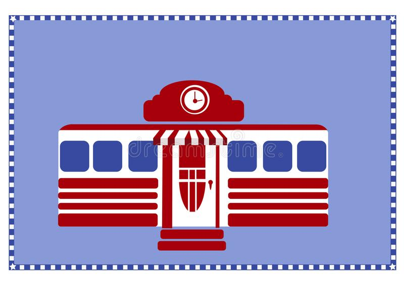 Red white and blue American Diner with Border vector illustration