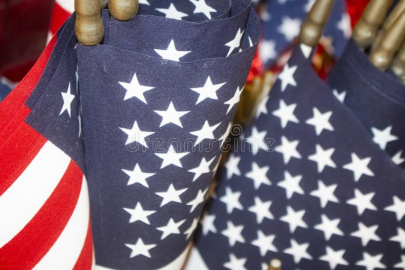 Red White and Blue American Flag background - selective focus with bokeh. A Red White and Blue American Flag background - selective focus with bokeh royalty free stock photography
