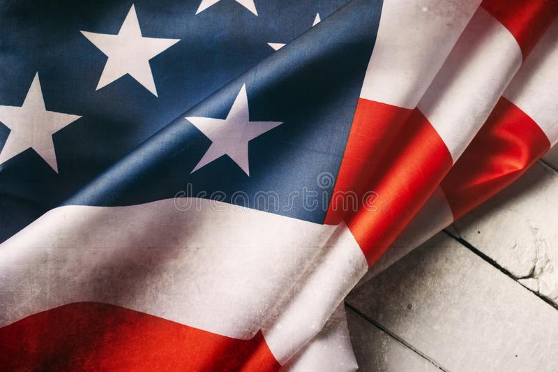 Red, white, and blue American flag for Memorial day or Veteran`s day background stock photos