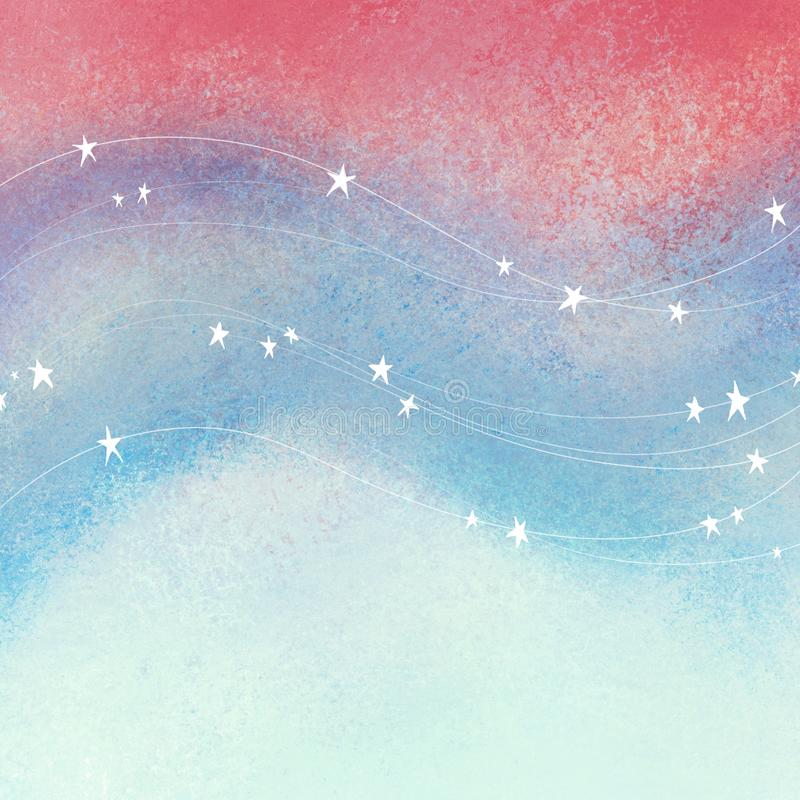 Red white and blue background with stars and stripes in flowing waves; textured patriotic fourth of July, Veterans day, or memoria. Grunge red white and blue stock illustration