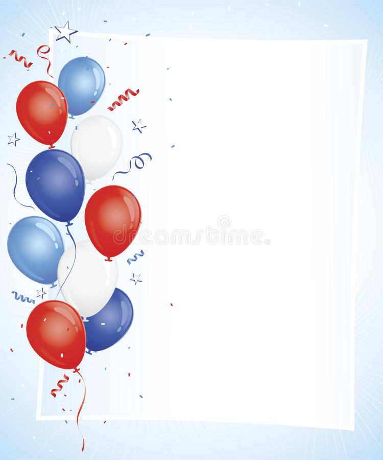 Red white and blue balloons on copy space. Confetti and ribbon details with 3D shaded stars on left edge royalty free illustration