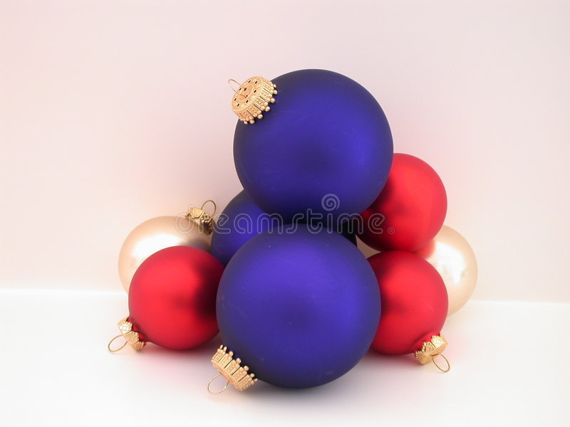 Red, White, & Blue Christmas Bulbs royalty free stock photos