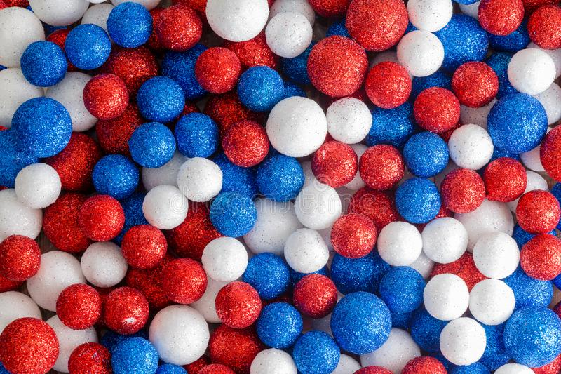 Red white and blue decorative glitter balls royalty free stock image
