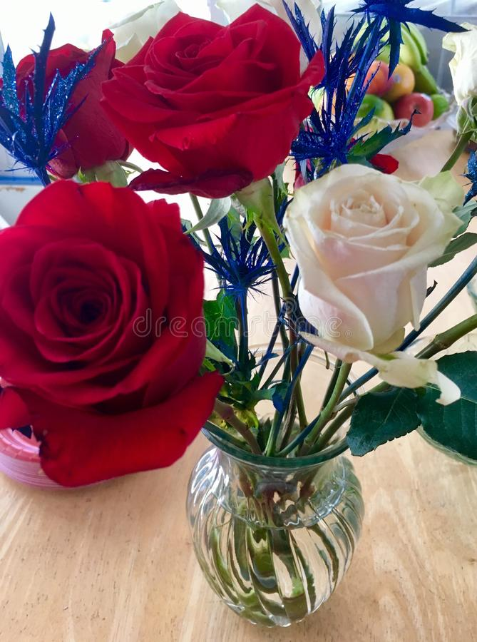 Red, White and Blue Flowers stock photo