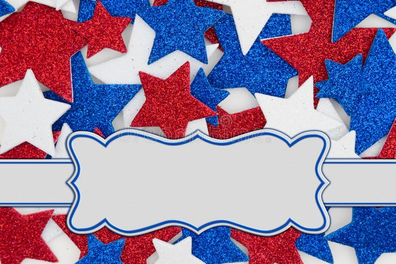 Red, white and blue glitter stars background with banner stock image